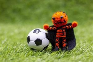 ballon de football avec fantôme sont sur l'herbe verte le jour d'halloween photo