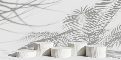 podium d'affichage de produit avec des feuilles de nature ombre sur fond pastel. rendu 3D photo
