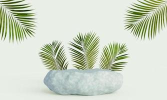 podium d'affichage de produits rock avec fond de feuilles tropicales. rendu 3D photo