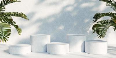 présentoir de produit de podium avec des feuilles de nature sur fond blanc. rendu 3D photo