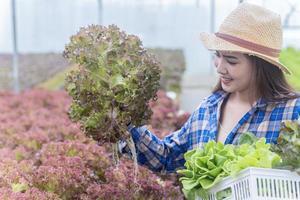 portrait d'une femme asiatique tenant un panier de légumes frais et de légumes biologiques de la ferme. culture maraîchère et hydroponie. concept de santé pour l'agriculture photo
