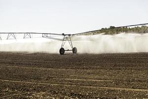système d'irrigation automatique dans un champ de céréales photo