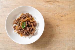 boeuf tranché sur riz garni, ou gyudon - style de cuisine japonaise photo