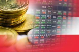 Investissement boursier trading financier, monnaie et drapeau de l'Autriche ou forex pour analyser l'arrière-plan des données de tendance des entreprises de financement des bénéfices photo