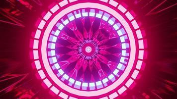 lampes au néon rondes à l'intérieur du tunnel 4k uhd illustration 3d photo