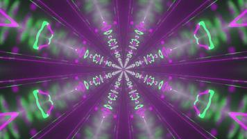 tunnel avec des lumières roses et vertes illustration 3d uhd 4k photo