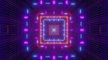 4k uhd illustration 3d du tunnel carré avec éclairage au néon symétrique photo