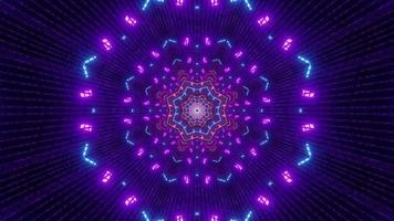 néons colorés à l'intérieur du tunnel symétrique 4k uhd illustration 3d photo