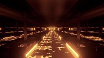 Tunnel d'or 4k uhd avec illustration 3d de drapeaux australiens photo