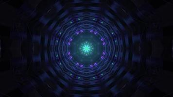 tunnel de forme ronde avec néons illustration 3d uhd 4k photo