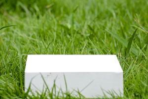 Maquette blanche de modèle de boîte de papier sur un fond d'herbe verte photo