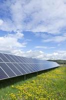 centrale solaire sur la prairie fleurie de printemps photo