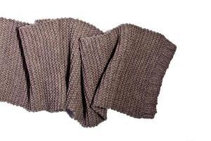 écharpe tricotée en laine marron photo