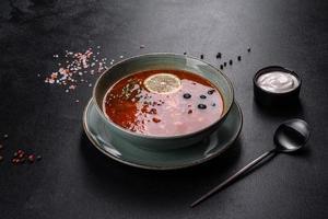 délicieuse soupe chaude fraîche à la tomate et à la viande dans une assiette en céramique. soupe méli-mélo photo