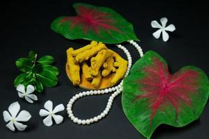 curcuma avec des fleurs jaunes isolés sur fond noir. photo