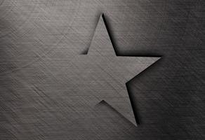 étoile sur l'acier inoxydable, fond de texture métallique photo
