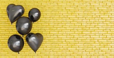 mur avec des ballons coeur noirs photo