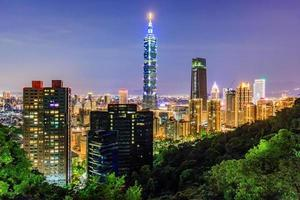horizon de la ville de taiwan au coucher du soleil depuis la vue de la ville de taipei photo