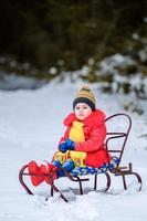 fille en brillant sur un traîneau sur fond de forêt d'hiver. photo