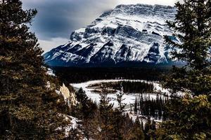 vue sur la vallée de la proue depuis la montagne du tunnel. parc national banff, alberta, canada photo