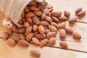 Close up raw graine d'amandes pelées en sac sur fond de bois photo