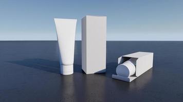 image de maquette du rendu 3d de tubes et de boîtes en mousse blanche. photo