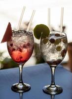 deux verres de cocktail avec glace et tranche de citron photo