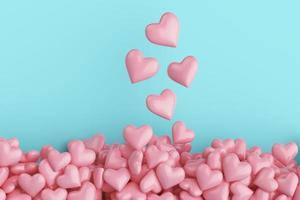 la vue de dessus beaucoup de coeurs roses photo