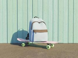 sac à dos d'école sur une planche à roulettes photo