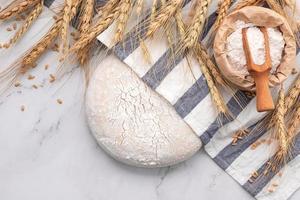 pâte à levure fraîche faite maison reposant sur une table en marbre photo