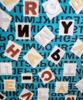 alphabets sur le concept d'éducation de tapis photo