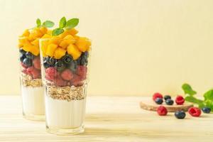 mangue, framboise et myrtille maison avec yaourt et granola - style alimentaire sain photo