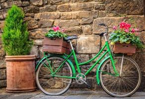vélo vert avec des fleurs photo