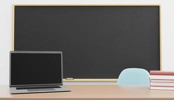 maquette d'ordinateur portable avec tableau blanc derrière photo