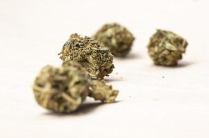 Fleurs de marijuana légale sur fond de papier photo