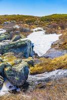 La rivière storebottane au lac vavatn à hemsedal, norvège photo