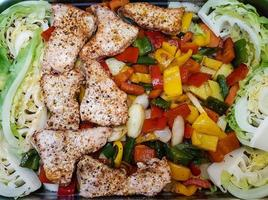 cocotte de légumes et filet de porc photo