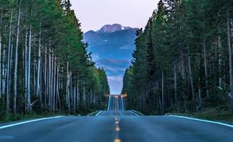 route à travers la forêt menant aux grands tétons photo
