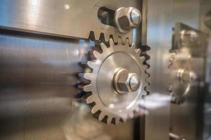 engrenages de porte de coffre-fort au musée photo