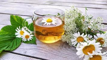 thé à la camomille dans une tasse en verre. une tasse transparente avec photo