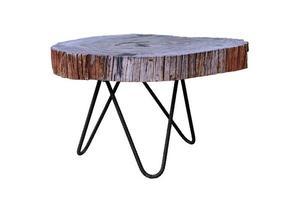 table en bois avec des pieds en acier simpliste isolé sur fond blanc photo