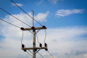 poste électrique au bord de la route avec des câbles de ligne électrique photo