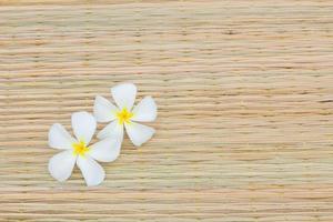 deux plumeria blanc sur tapis traditionnel thaïlandais photo