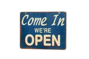 signe avec entrer, nous sommes ouverts isolés sur fond blanc. photo