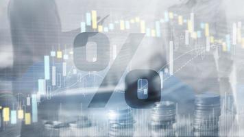 icône de pourcentage sur fond de marché boursier financier photo