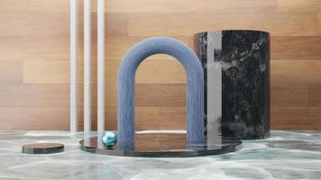 scène abstraite de podium en marbre blanc et mur en bois. rendu 3D photo