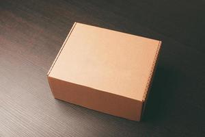 La photo en gros plan de la boîte à lunch des maquettes sur une table en bois sombre