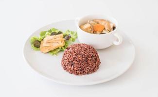 soupe aux choux farcis avec riz aux baies et tofu photo