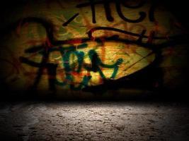 résumé, graffiti, mur, salle, intérieur, étape photo