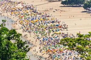 plage de copacabana pleine un dimanche ensoleillé typique à rio de janeiro. photo